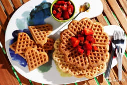 Waffle Hearts with Seasonal Fruits and Topping