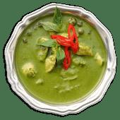 Зелений карі з куркою і трьома видами баклажанів
