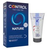 Condones control nature (12 uds.)+ lubricante neutro (50 ml.)