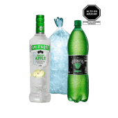 Smirnoff Apple 750 Ml + Evervess 1.5 Lt+ Hielo 1.5 Kg