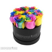 Rosas arcoiris  eternas en caja redonda (7-8 uds)