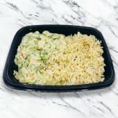 Pollo al puerro con arroz con hierbas