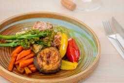 Porc tenderloin fried yamms, grilled vegetables