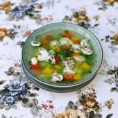 Суп овочевий з курячим філе і грибами (350г)