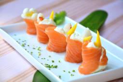 Geisha salmón recargada  (5 piezas)