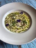 Картопляний крем з пряним маслом з свіжої зелені та крем сиром (300г)