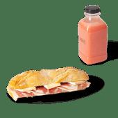 Menú panino de jamón ibérico y brie (caliente) + zumo (500 ml.)