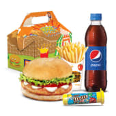Tropilonchera con hamburguesa de pollo