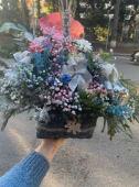 საახალწლო ცოცხალი და ხელოვნური ყვავილებით #2