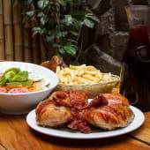 1 pollo a la brasa + papas