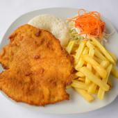 Milanesa, arroz y papas fritas (150 g.)