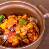 Pollo al curry cremoso con verduras selectas