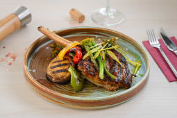 Roasted veal chopp, grill vegetables