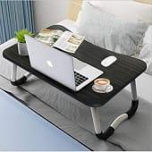 Mesa Portátil Laptop Plegable Maderada Negra Ajustable Cama