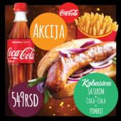 Austrijska kobasica sa sirom + pomfrit + Coca cola 0,5l (549rsd)