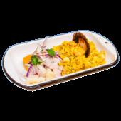 Dúo ceviche + arroz con mariscos