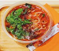 S2-Spaghetti di riso in brodo con ragù di manzo piccante