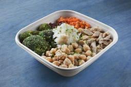 Bowl de cous cous con verdura y proteina de soja heüra