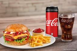 Hamburger bacon + Coca-Cola Zero Zuccheri 33cl