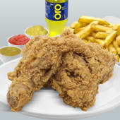 1/4 de pollo (Pierna) + papas fritas + gaseosa 220 ml.