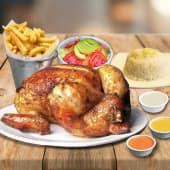 1 Pollo A La Brasa Con Papas O Ensalada O Arroz + 3 Salsas