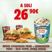 Bronx Steakhouse Menù + Crunchicken Menù + B&J's Cookie Dough 465 ml