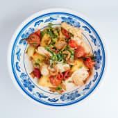 Смажений кальмар з овочами