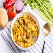 Láminas de picana al curry cremoso
