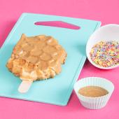 Waffle con crema de caramelo