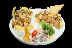 Combo 4 - ceviche mixto + arroz chaufa de mariscos + chicharrón mixto
