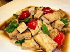 Tofu frito con salsa estilo Wino