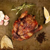 1/2 pollo a l'ast + patatas rustidas