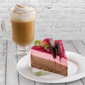 Café con leche (10 oz.) + porción de torta