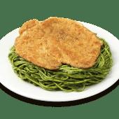 Tallarín verde con apanado de pollo