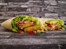 Egyptian Falafel in Laffa Flatbread with Fresh Vegetables & Tahini