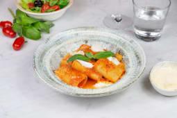 Schiaffoni con pomodoro biologico e mozzarella