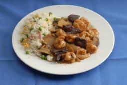 Gambas com Cogumelos Chineses e Arroz