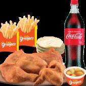 Banquete: 5 Piezas + 2 Papas + Ceviche + Tortillas + Coca Cola 1.5L