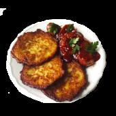 Currywurst (kiełbasa drobiowa) z plackami ziemniaczanymi