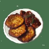 Currywurst kiełbasa wegańska - Dobra kaloria + placki ziemniaczane