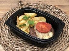 Hamburguesa angus al plato con patatas