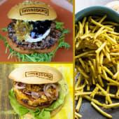 Cabra Burger + Rodeo Burger + Ración patatas