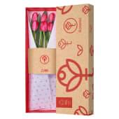 Caja Roja Rosatel Con 6 Tulipanes