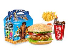 Бургер куриный+ фри + напиток на выбор + маленькая игрушка