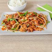 """""""Piletina Gambian"""", riža"""