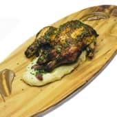 Pollo de corral asado (900 g.) y puré de patata italiana
