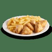 6 sticks de pollo y papa frita