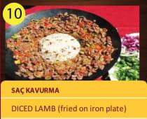 Sac kavurma - diced lamb - fried on iron plate
