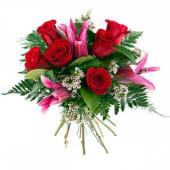 6 Rosas Rojas Tallo Medio + Lilium