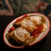 Bandeja de lomo y pimientos asados